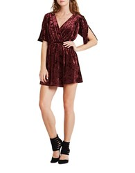 Bcbgeneration Short Sleeve Crushed Velvet Surplice Dress Wine