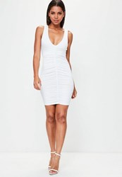 Missguided White Sleeveless Ruched Front Bodycon Dress