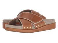 Hush Puppies Chrysta X Band Slide Tan Leather Slide Shoes