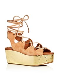 See By Chloe Lace Up Metallic Platform Sandals Light Pink