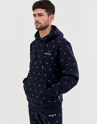 Nicce London Hoodie With All Over Logo In Navy