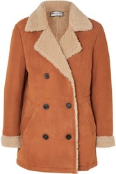 Paul And Joe Double Breasted Faux Fur Lined Suede Jacket Brown