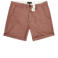 River Island Mens Red Textured Slim Fit Casual Shorts