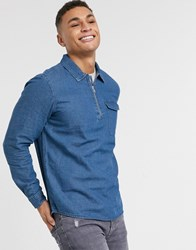 Burton Menswear Half Zip Denim Shirt Blue