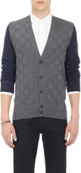 Barneys New York Colorblock Square Jacquard Cardigan Blue