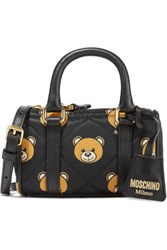 Moschino Leather Trimmed Quilted Printed Shell Shoulder Bag Black