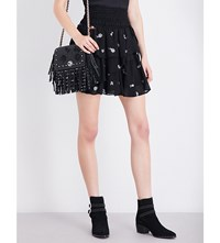 The Kooples Floral Embroidered Tiered Chiffon Skirt Bla01