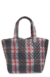 M Z Wallace Mz Wallace 'Large Metro' Quilted Oxford Nylon Tote Black Plaid