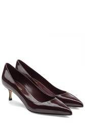 Sergio Rossi Patent Leather Kitten Heel Pumps Brown