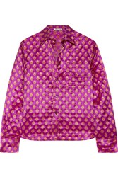Miu Miu Metallic Fil Coupe Shirt Magenta