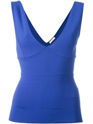 P.A.R.O.S.H. Plunging V Neck Top Blue