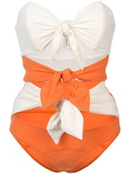 Lisa Marie Fernandez Triple Poppy Knotted Swimsuit Yellow And Orange