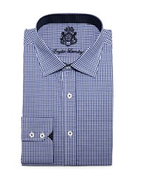 English Laundry Small Check Woven Dress Shirt Navy