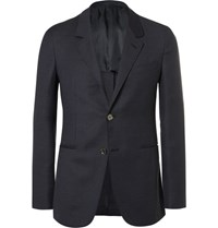 Caruso Blue Butterfly Slim Fit Unstructured Wool Mohair And Silk Blend Blazer Blue