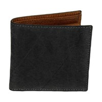 40 Colori Black Solid Washed Mogador And Leather Wallet