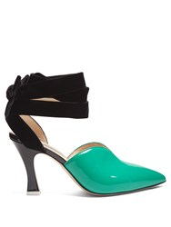 Attico Olivia Patent Leather And Velvet Pumps Green