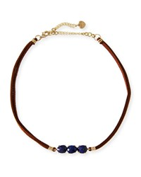 Nakamol Braided Leather And Lapis Choker Blue