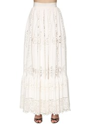 Dolce And Gabbana Embroidered Cotton Poplin Long Skirt White