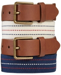 Tommy Hilfiger Leather Tab Fabric Belt Winter White