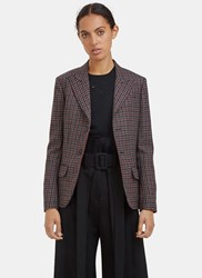 Yang Li Tartan Single Breasted Blazer Jacket Red