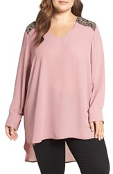 Melissa Mccarthy Seven7 Plus Size Women's Beaded Shoulder High Low Blouse Nostalgia Rose