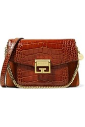 Givenchy Gv3 Small Croc Effect Leather And Suede Shoulder Bag Brown