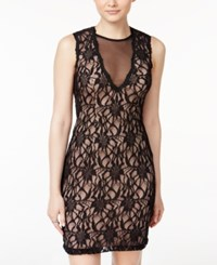 City Triangles Studios Juniors' Illusion Lace Bodycon Dress Black Nude