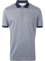 Pringle Of Scotland Houndstooth Polo Shirt Blue