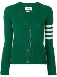 Thom Browne Classic V Neck Cardigan With 4 Bar Stripe In Green Cashmere Cashmere