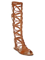 Sigerson Morrison Bright Leather Knee High Gladiator Sandals Tan