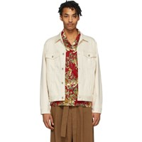 Naked And Famous Denim Off White Denim Natural Seed Jacket