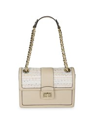 Karl Lagerfeld Leather And Tweed Shoulder Bag Multi Colored