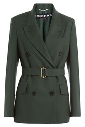 Rochas Belted Virgin Wool Jacket Green