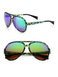 Italia Independent 58Mm Camouflage Aviator Sunglasses Green