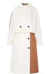 Tibi Convertible Color Block Twill Trench Coat Ivory