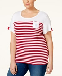Karen Scott Plus Size Striped Top Only At Macy's New Red Amore
