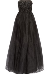 Raoul Park Avenue Embellished Satin Trimmed Tulle Strapless Gown Black