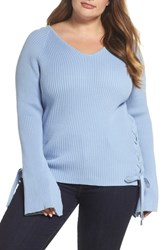 Glamorous Plus Size Women's Bell Sleeve Lace Up Sweater Blue