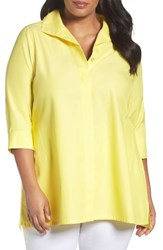 Foxcroft Plus Size Women's Skye Non Iron Tunic Shirt Sunflower