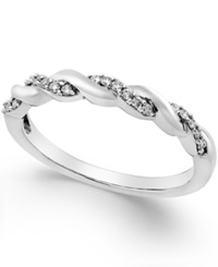 Macy's Diamond Twisted Band 1 8 Ct. T.W. In 14K White Gold