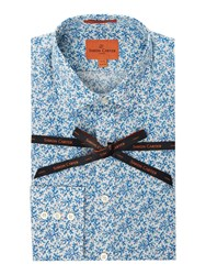 Simon Carter Men's Liberty Josue Floral Print Moore Shirt Blue