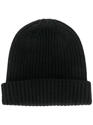 Cruciani Cashmere Ribbed Knit Hat Black