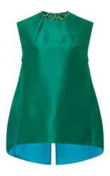 Monique Lhuillier Silk Gazar Shell Green