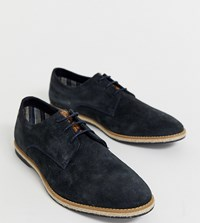 Base London Wide Fit Kinch Brogues In Navy Suede
