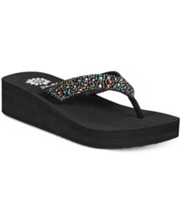 Yellow Box Africa Rhinestone Platform Flip Flops Women's Shoes Multi