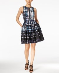 Vince Camuto Printed Faux Leather Trim Fit And Flare Dress Blue Black