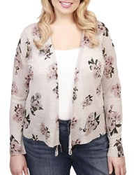 Lucky Brand Plus Floral Print Cardigan Glacier Grey
