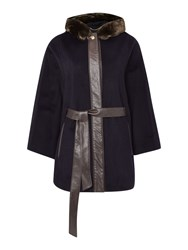 Ellen Tracy Cape Coat Navy