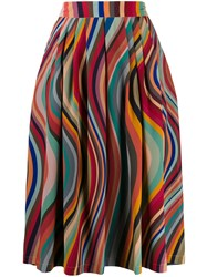 Paul Smith Ps Pleated Wave Pattern Skirt Red