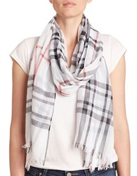 Lord And Taylor Cotton Plaid Scarf Ivory